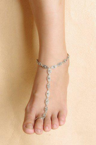 Vintage Hollow Out Flower Anklet - SILVER