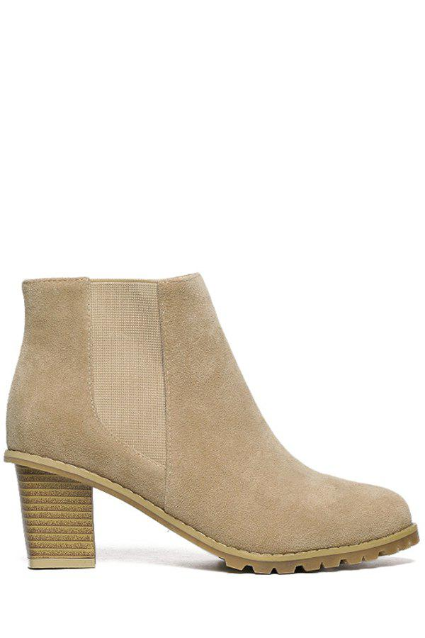 Simple Elastic and Suede Design Women's Ankle Boots - APRICOT 35