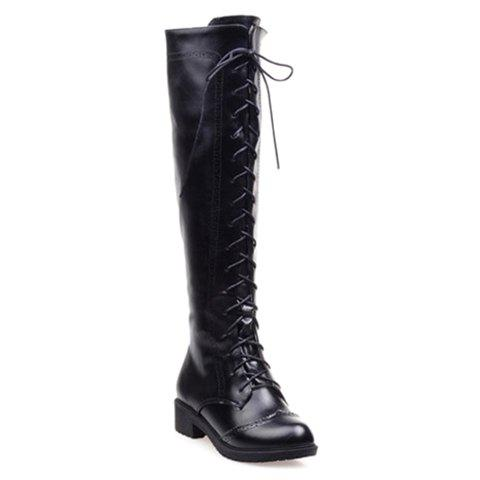Retro Engraving and Solid Color Design Knee-High Boots For Women - BLACK 38