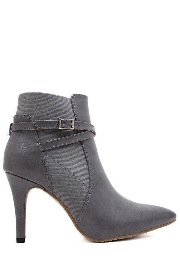 Fashion Cross Straps and Buckle Design Women's Ankle Boots - GRAY 39