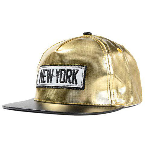 Chic Name Letters Embroidery Embellished Glossy PU Women's Baseball Cap -  GOLDEN