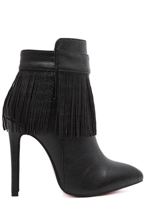 Trendy Fringe and Zipper Design Women's Ankle Boots - BLACK 38