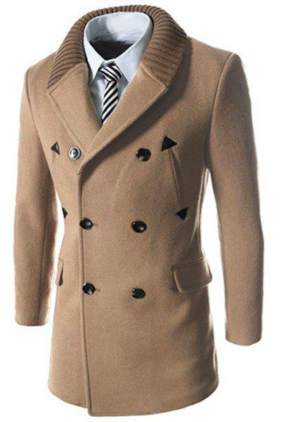 Knitted Lapel PU Leather Spliced Multi-Button Slimming Long Sleeves Men's Woolen Blend Thicken Peacoat - LIGHT CAMEL M
