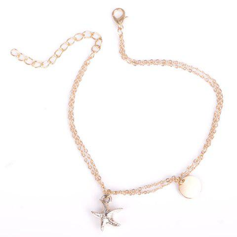 Stylish Chic Solid Color Double-Layer Fancy Anklets - GOLDEN