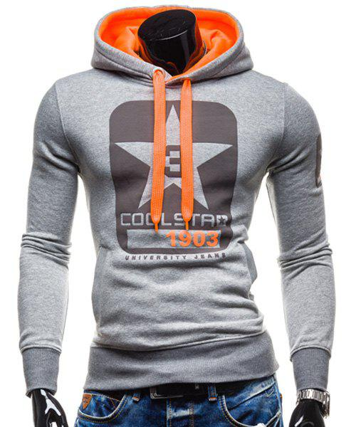 Trendy Slimming Hooded Color Block Letters Star Print Applique Design Men's Long Sleeves Hoodie - LIGHT GRAY L
