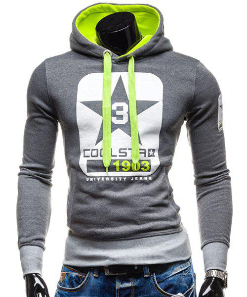 Trendy Slimming Hooded Color Block Letters Star Print Applique Design Men's Long Sleeves Hoodie - DEEP GRAY M