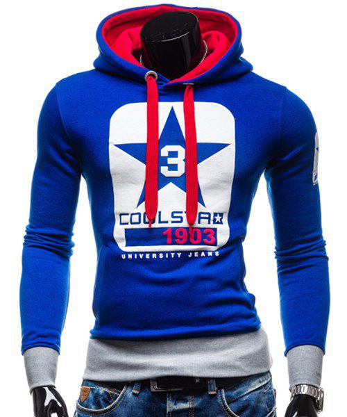 Trendy Slimming Hooded Color Block Letters Star Print Applique Design Men's Long Sleeves Hoodie - SAPPHIRE BLUE XL