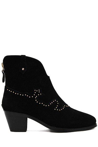 Retro Rivets and Suede Design Women's Ankle Boots - BLACK 39