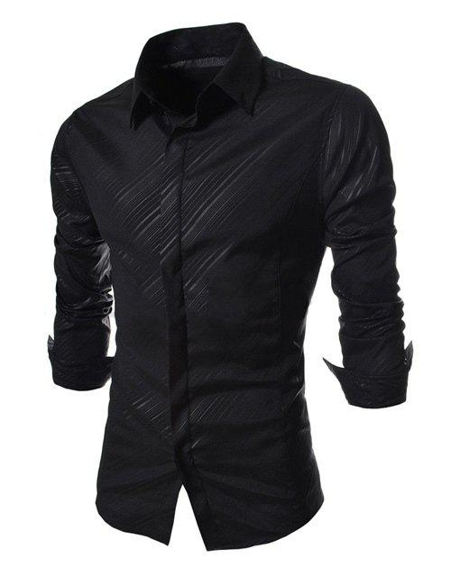 Western Style Shirt Collar Dark Inclined Stripes French Front Long Sleeves Men's Slim Fit Shirt - BLACK L