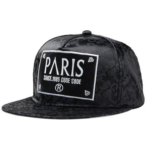 Chic Letters Rectangle Embroidery Ethnic Paisley Print Women's Baseball Cap - BLACK