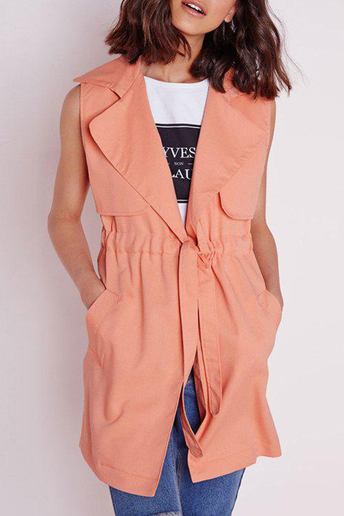 Stylish Lapel Neck Sleeveless Solid Color Women's Trench - ORANGEPINK M