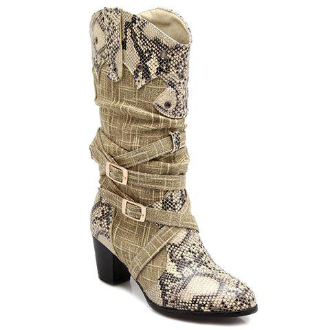 Trendy Snake Print and Buckles Design Mid-Calf Shoes For Women - OFF WHITE 39