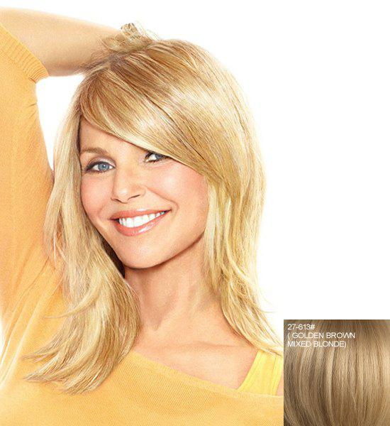 Fluffy Natural Wave Stunning Side Bang Medium Capless Real Human Hair Wig For Women - ASH BLONDE /