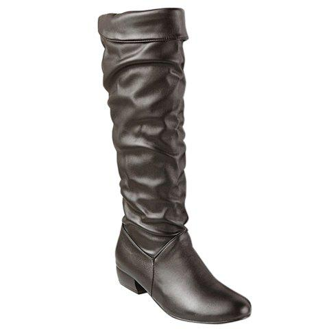 Fashionable Solid Colour and Low Heel Design Knee-High Boots For Women - BROWN 36