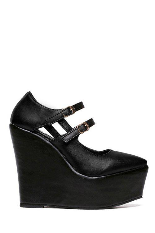Simple Pointed Toe and Buckle Design Women's Wedge Shoes - BLACK 37