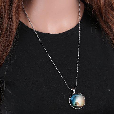 Trendy Tree Moon Print Round Noctilucent Necklace For Women - SILVER