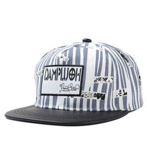 Chic Rectangle Embroidery Irregular Stripe Pattern PU Brim Women's Baseball Cap - BLACK
