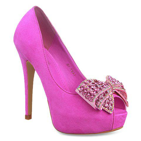 Party Rhinestones and Suede Design Peep Toe Shoes For Women - ROSE 39