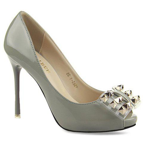 Elegant Rivets and Bow Design Peep Toe Shoes For Women - GRAY 38