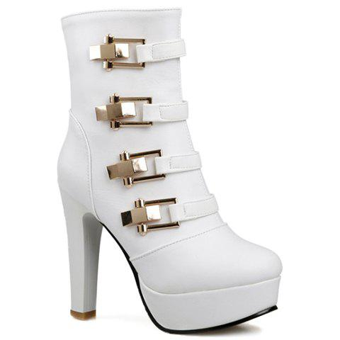 Stylish Solid Color and Metal Design Short Boots For Women - WHITE 37