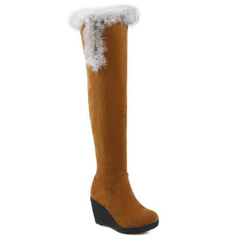 Fashion Faux Fur and Zipper Design Snow Boots For Women - YELLOW 37