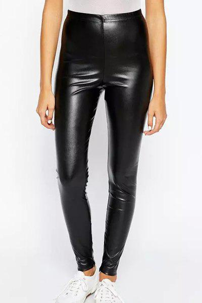 Women's Stylish Over Hip Faux Leather Solid Color Leggings - BLACK S