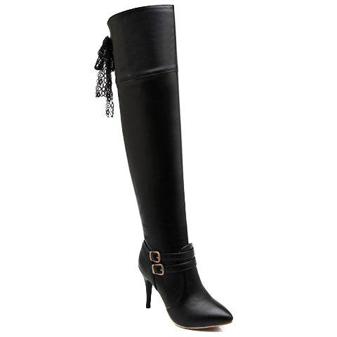 Fashionable Lace and Buckle Design Over The Knee Boots For Women - 37 BLACK