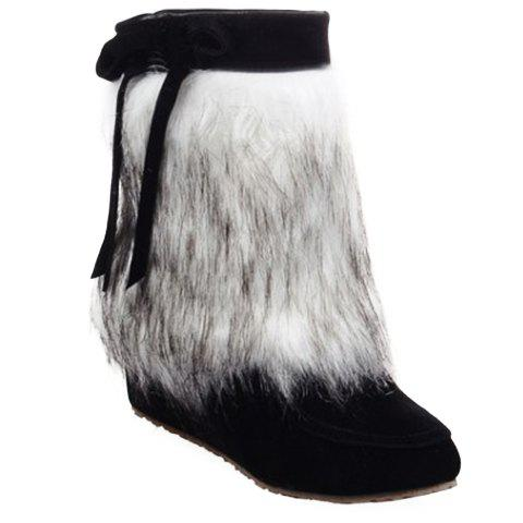 Simple Faux Fur and Bow Design Ankle Boots For Women - BLACK 36