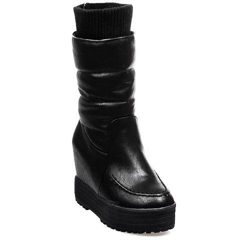 Simple Round Toe and Platform Design Mid-Calf Boots For Women - BLACK 36