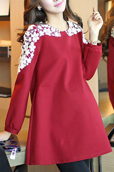 Loose Jewel Neck Large Size Long Sleeves Maternity Dress For Women - RED L