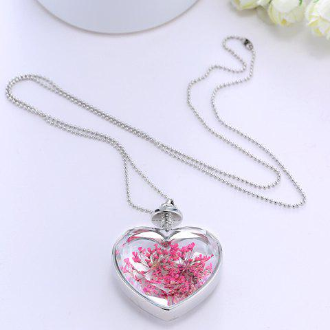 Dried Flower Heart Shape Pendant Necklace - WHITE