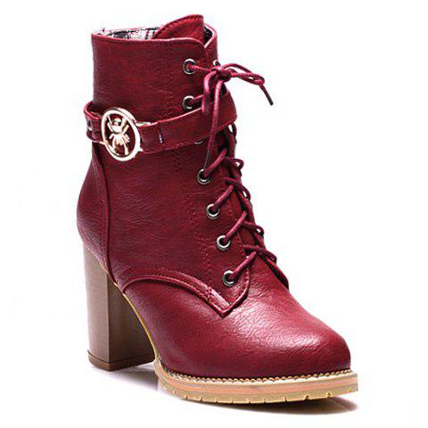 Trendy Lace-Up and Metal Design Ankle Boots For Women - RED 37