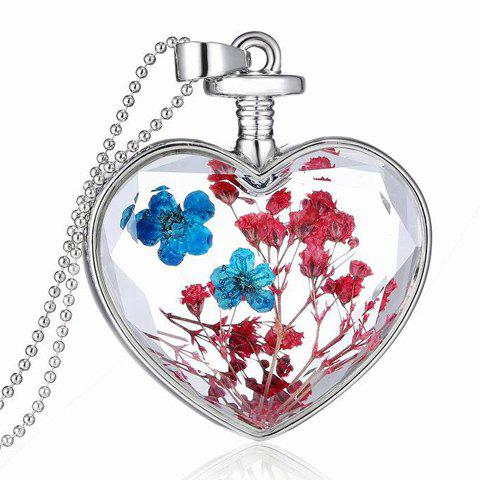Dried Flower Heart Pendant Necklace - SILVER