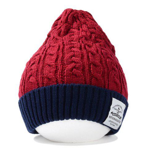 Stylish Patch and Hemp Flower Shape Embellished Flanging Knitted Beanie For Men - WINE RED