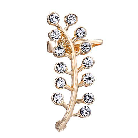 ONE PIECE Rhinestone Leaf Ear Cuff - GOLDEN