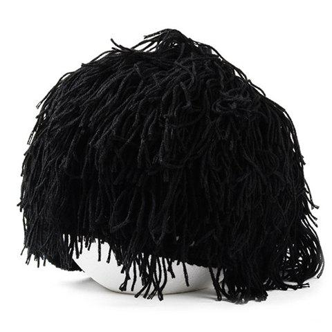 Stylish Men and Women's Woolen Yarn Imitated Wig Embellished Knitted Beanie - BLACK