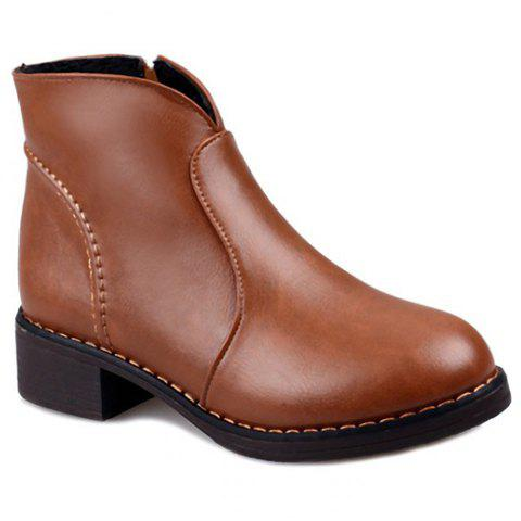 Laconic Zipper and PU Leather Design Ankle Boots For Women - BROWN 36