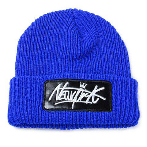 Stylish Letters Embroidery PU Leather Embellished Flanging Men's Knitted Beanie - BLUE
