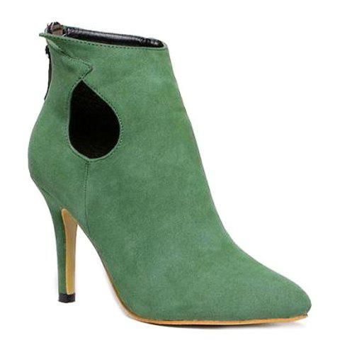 Graceful Hollow Out and Suede Design Women's Ankle Boots - 37 GREEN