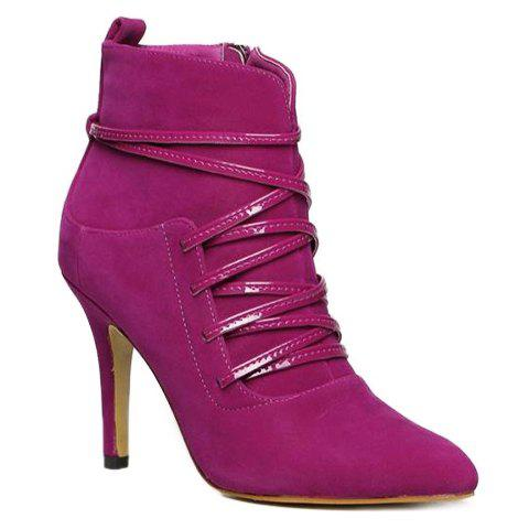 Graceful Criss-Cross and Solid Color Design Women's Ankle Boots - RED 39