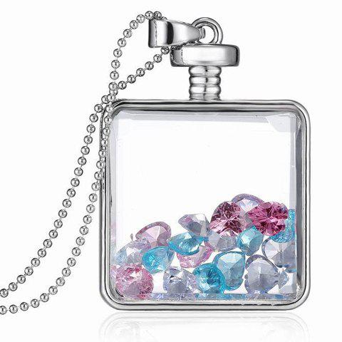 Heart Shape Faux Crystal Decorated Square Pendant Necklace - SILVER