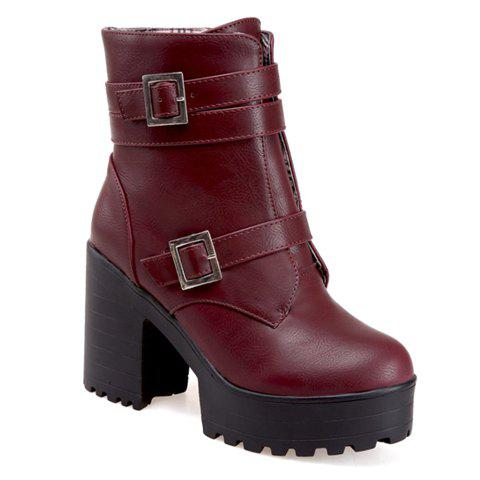 Stylish Zipper and Double Buckle Design Short Boots For Women - WINE RED 36