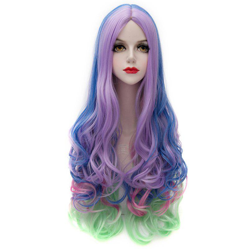 Offbeat Colorful Ombre Charming Long Centre Parting Synthetic Fluffy Wavy Wig For Women - COLORMIX