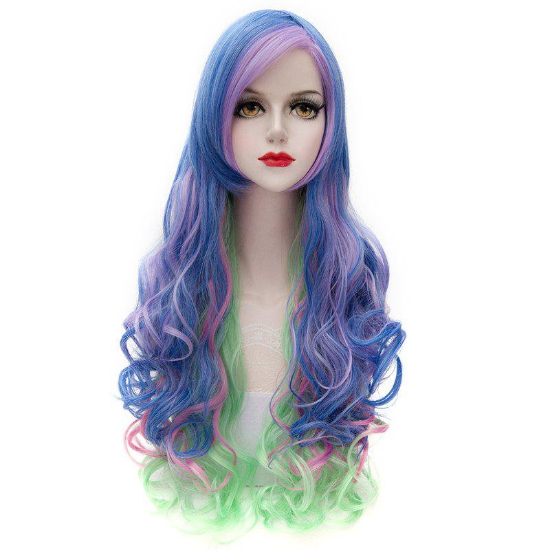 Trendy Shaggy Wave Colorful Gradient Layered Side Bang Long Synthetic Capless Wig For Women