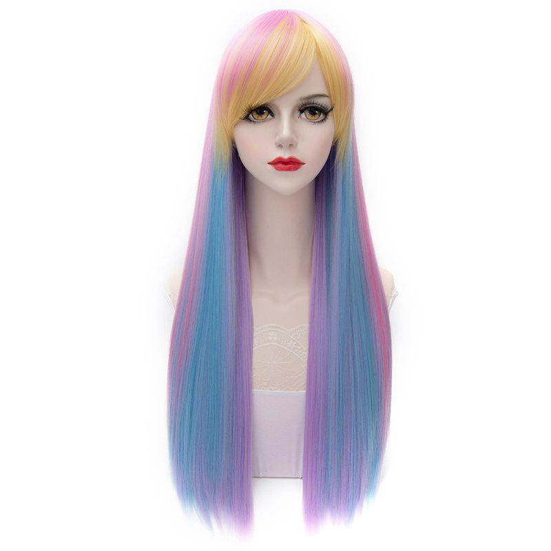 Gorgeous Multicolor Ombre Silky Straight Synthetic Capless Inclined Bang Long Wig For Women