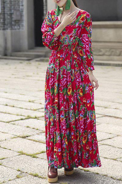 Fashionable Scoop Neck Flower Pattern Long Sleeve Women's Maxi Dress - RED ONE SIZE(FIT SIZE XS TO M)