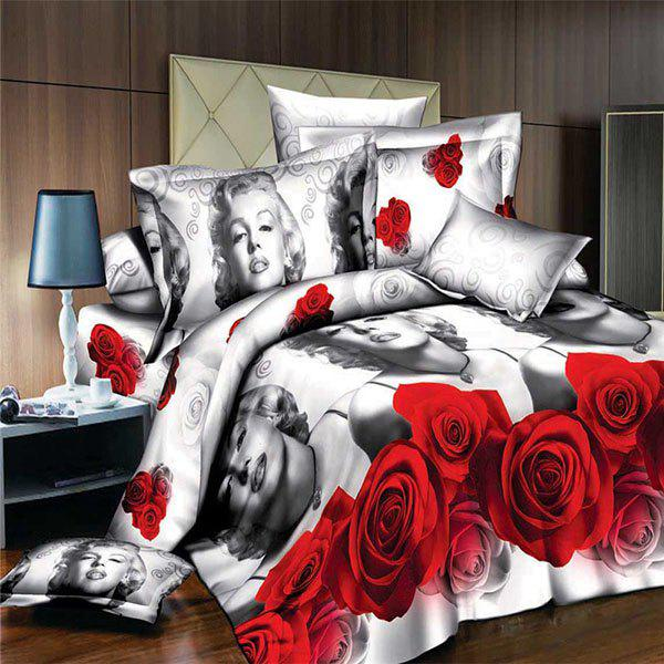 Simple Character and Rose Pattern 3D Full Size Flat Sheet ( Without Comforter ) - RED/WHITE FULL