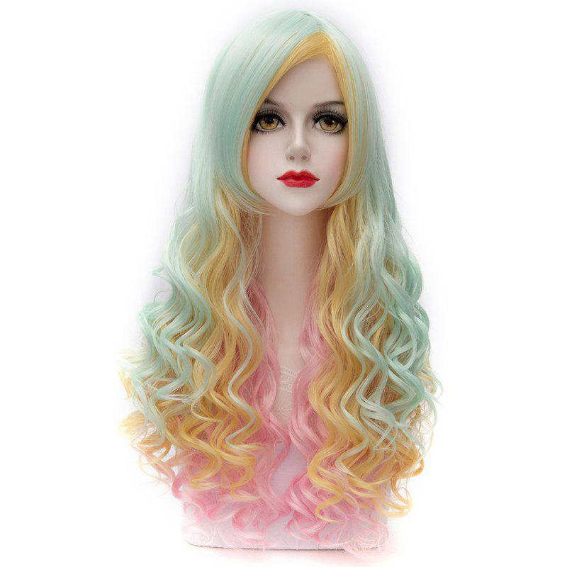 Lolita Style Gorgeous Colorful Ombre Capless Long Side Bang Fluffy Wave Synthetic Wig For Women - COLORMIX