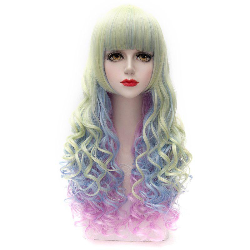 Multicolor Ombre Fluffy Wavy Layered Capless Long Charming Synthetic Full Bang Women's Wig - COLORMIX