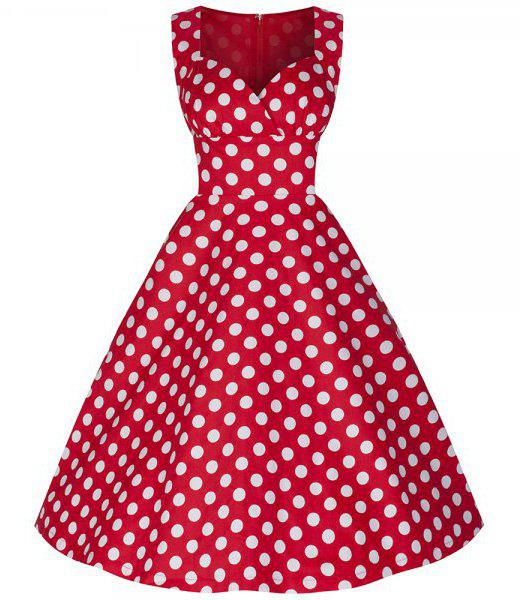 Charming Polka Dot Printed Sweetheart Neck Sleeveless Flare Dress For Women - RED XL